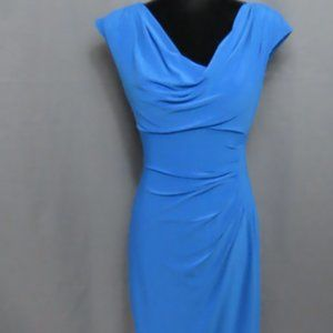 Blue Cowl Neck Cinched Side Bodycon Dress-4